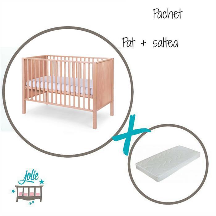 Jolie - Set salteluta + Patut pentru bebelusi Anabelle Natural cu 4 roti, Jolie