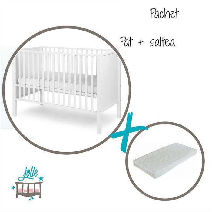 Jolie - Set salteluta + Patut pentru bebelusi Anabelle White cu 4 roti, Jolie
