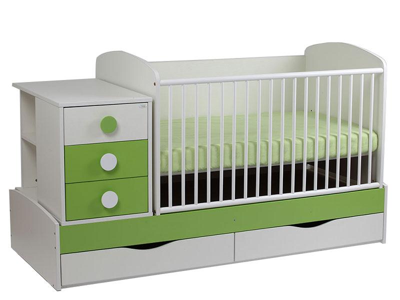 Patut Transformabil pentru copii Silence Alb-Verde - MyKids