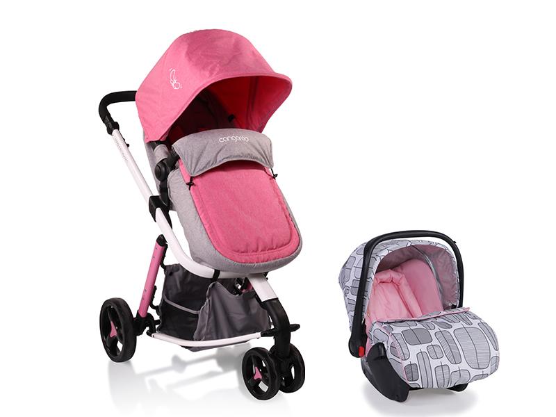 Carucior Copii 3 in 1 Sarah gri si roz Cangaroo