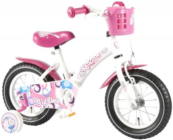 Bicicleta copii fete 12 inch Bike Giggles cu roti ajutatoare si cosulet roz - Volare