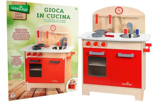 Bucatarie din lemn pentru copii Globo Legnoland 37783 cu chiuveta si accesorii incluse