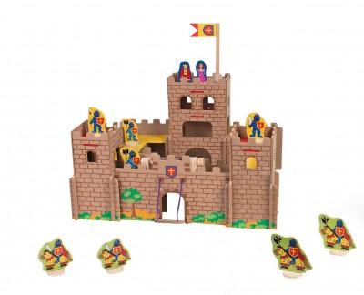 Castel cavaleri Globo din lemn cu 12 personaje incluse