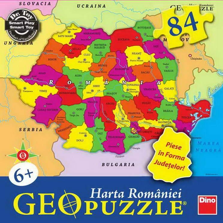 Geopuzzle, harta Romaniei, Dino