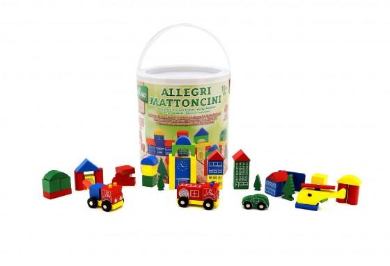 Galetusa cu cuburi din lemn colorate cu 4 vehicule pentru copii