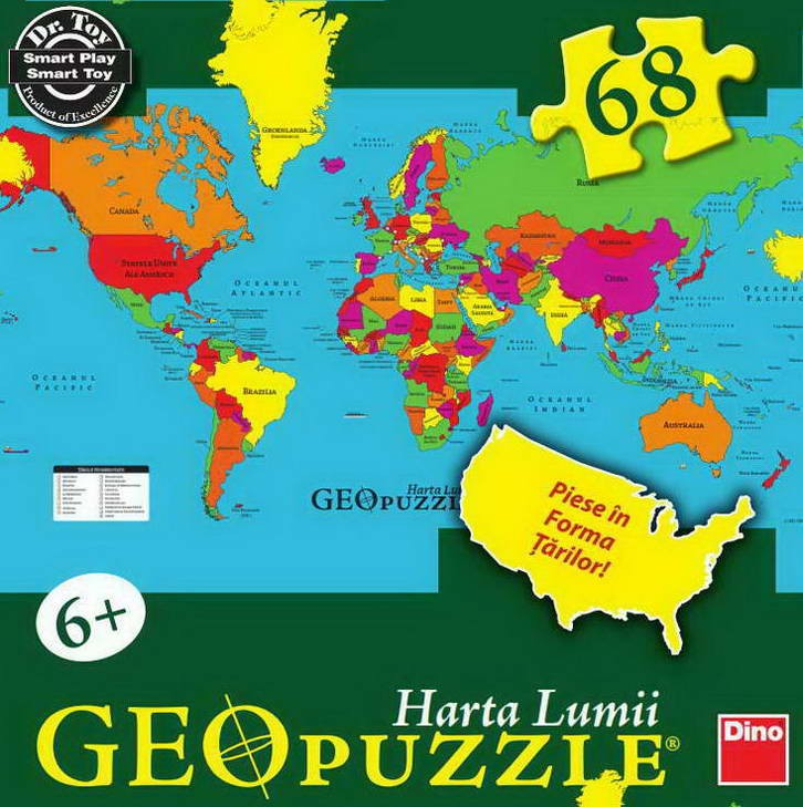 Geopuzzle, harta lumii, Dino