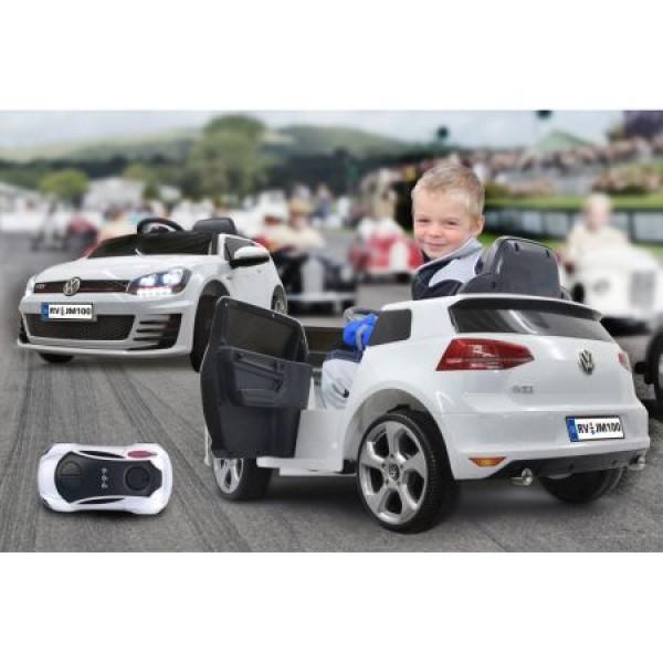 Masinuta electrica copii Volkswagen Golf GTI 2 VII alba Jamara 12V cu telecomanda control parinti 2.4 Ghz si MP3 player cu card memorie SD si lumina roti