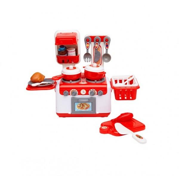 Mini Bucatarie plastic echipata Globo 07264 pentru copii cu aragaz si alte accesorii
