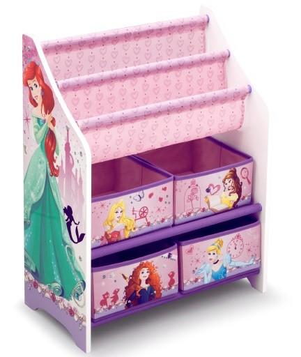 Organizator carti si jucarii cu cadru din lemn Disney Princess
