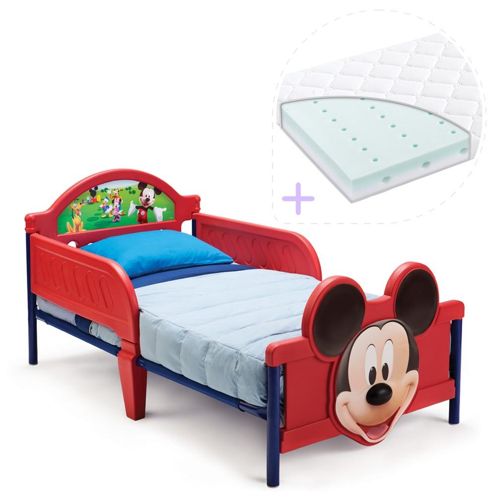 Set pat cu cadru metalic Disney Mickey Mouse 3D si saltea pentru patut Dreamily - 140 x 70 x 10 cm