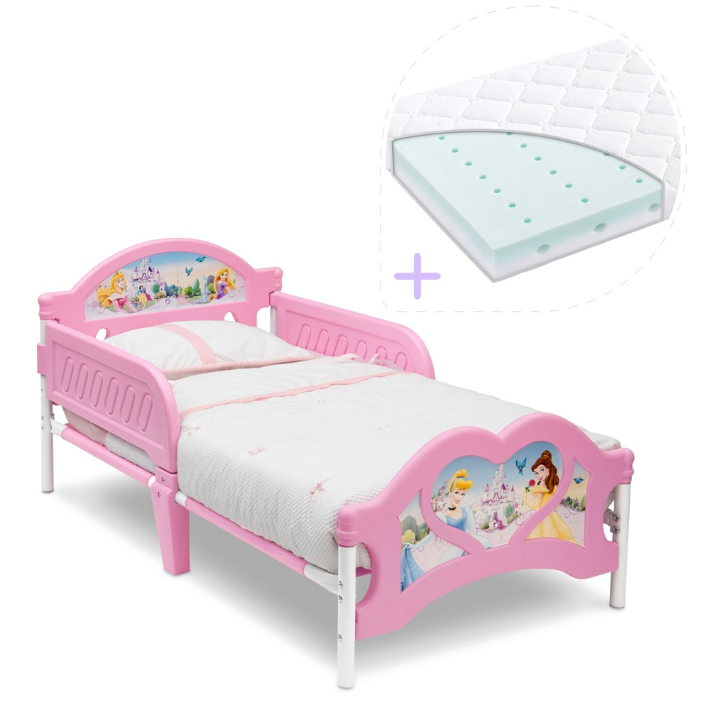 Set pat cu cadru metalic Disney Princess si saltea pentru patut Dreamily - 140 x 70 x 10 cm