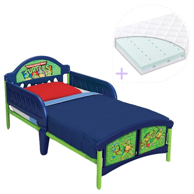 Set pat cu cadru metalic Testoasele Ninja si saltea pentru patut Dreamily - 140 x 70 x 10 cm