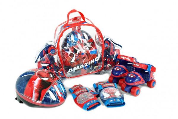 Set rotile Spiderman Saica pentru copii cu accesorii protectie si casca marimi reglabile 24-29