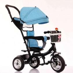 Tricicleta cu parasolar albastra