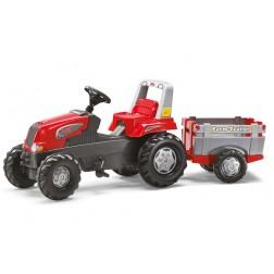 Tractor Cu Pedale Si Remorca rosu pentru copii - Rolly Toys