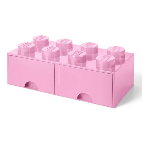 Cutie depozitare LEGO 2x4 cu sertare, roz (40061738)