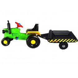 Tractor cu pedale si remorca Turbo green - Super Plastic Toys