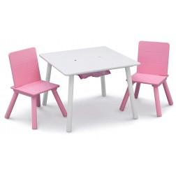 Set masuta multifunctionala si 2 scaunele, Alb/Roz