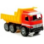 Camion cu basculanta din plastic pentru copii Lena cu licenta Mercedes 63cm cu 3 axe