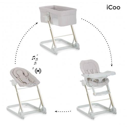 Patut scaun de masa si sezlong Grow With Me 1-2-3 Diamond Beige - ICoo