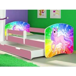 Patut Tineret Rainbow Unicorn cu Sertar si Saltea 140x70 - MyKids