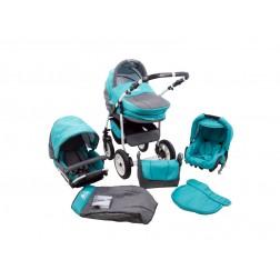 Carucior Copii 3 In 1 MyKids Fenix Turquoise-Gri