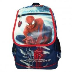 Ghiozdan clasele I-IV Spiderman bleumarin cu capac Pinga si minge cadou