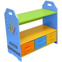 Raft carti si jucarii cu cadru din lemn copii Blue Crayon Style