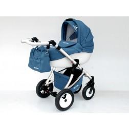Carucior Pentru Copii 3 In 1 Mykids Amber Blue-White