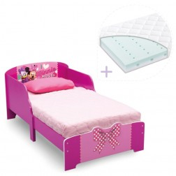 Set pat cu cadru din lemn Disney Minnie Bowtique si saltea pentru patut Dreamily - 140 x 70 x 10 cm