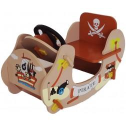 Balansoar din lemn pentru copii Brown Pirate Boat Style