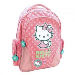 Ghiozdan Clasele I-IV Hello Kitty roz deschis cu buline Pigna si minge cadou
