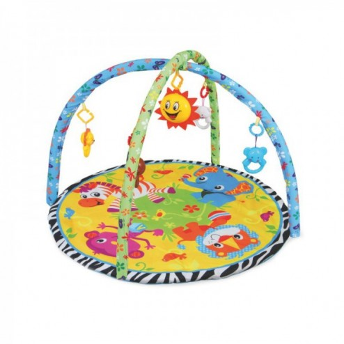Saltea de joaca cu muzica si centru activitati Baby Mix pentru bebelusi cu arcade si jucarii Animale Jungla