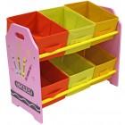 Organizator jucarii cu cadru din lemn Pink Crayon - Style