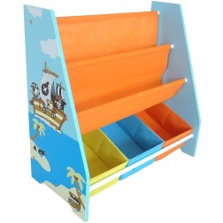 Organizator carti si jucarii cu cadru din lemn Blue Pirate - Style
