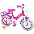 Bicicleta Volare Minnie Mouse cu roti ajutatoare si portbagaj metalic