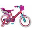 Bicicleta pentru fete 14 inch, cu scaun pentru papusi, roti ajutatoare si cosulet, Trolls