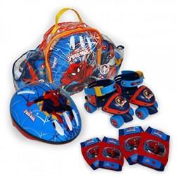 Set rotile Spiderman 2 Saica pentru copii cu accesorii protectie si casca marimi reglabile 24-29