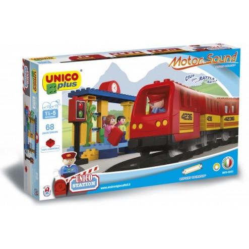 Set constructie Plus Trenulet cu baterii 68 piese - Unico
