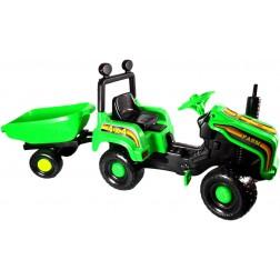 Tractor cu pedale si remorca Mega Farm verde Super Plastic Toys