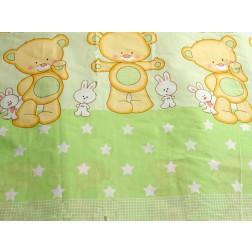 Lenjerie MyKids Teddy Iepuras Verde 4+1 Piese 120x60
