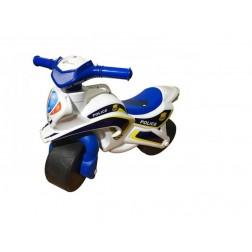 Motocicleta de impins MyKids Police Music Alb cu Albastru
