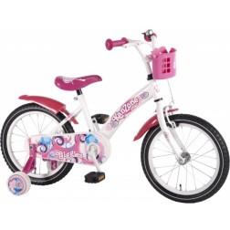 Bicicleta copii fetite 16 inch Volare cu roti ajutatoare si cosulet roz Kanzone Giggles