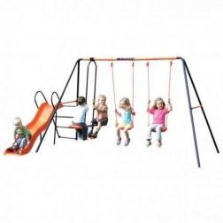 Leagan dublu, balansoar si tobogan MVS Europa pentru copii combinate