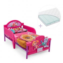 Set pat cu cadru metalic Paw Patrol Girl 3D si saltea pentru patut Dreamily - 140 x 70 x 10 cm