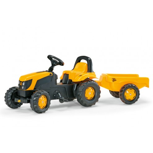 Tractor Cu Pedale Si Remorca galben copii - Rolly Toys