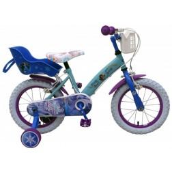 Bicicleta pentru fete 14 inch, cu scaun pentru papusi, roti ajutatoare si cosulet, Frozen