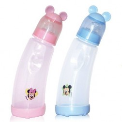 Biberon curbat anticolici, 250 ml, Mickey/Minnie, Bertoni