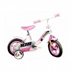 Bicicleta 108 FL cu maner pentru parinti - Dino Bikes-108 Roz