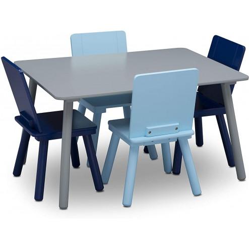 Set masuta si 4 scaunele, Blue/Grey